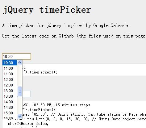jQuery timePicker(jQuery时间选择插件)